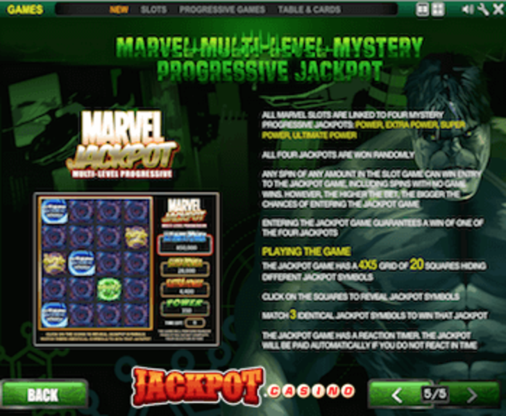 Marvel extra power paytable