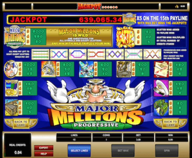Major millions 5 reel paytable